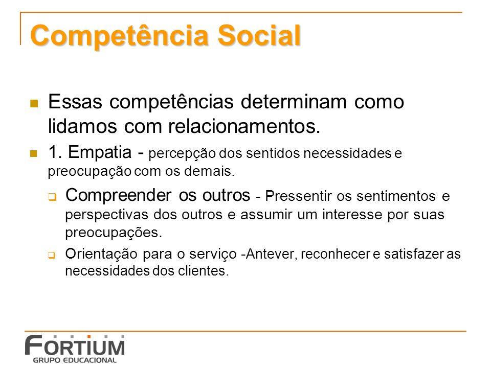 Competência Social Essas competências determinam como lidamos com relacionamentos.