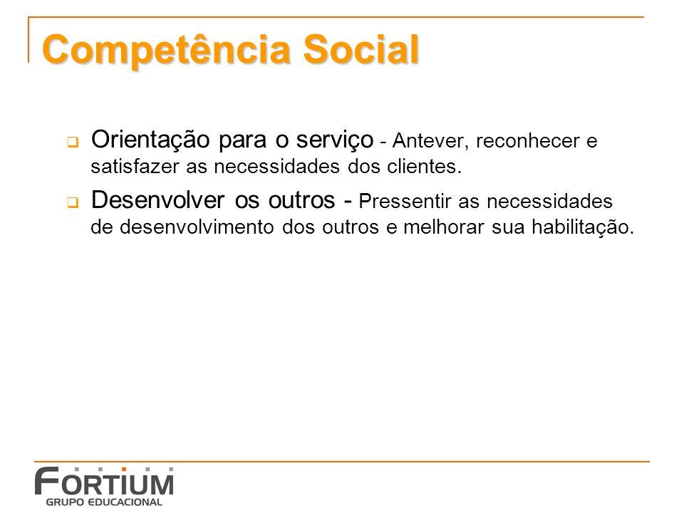 Competência Social Orientação para o serviço - Antever, reconhecer e satisfazer as necessidades dos clientes.