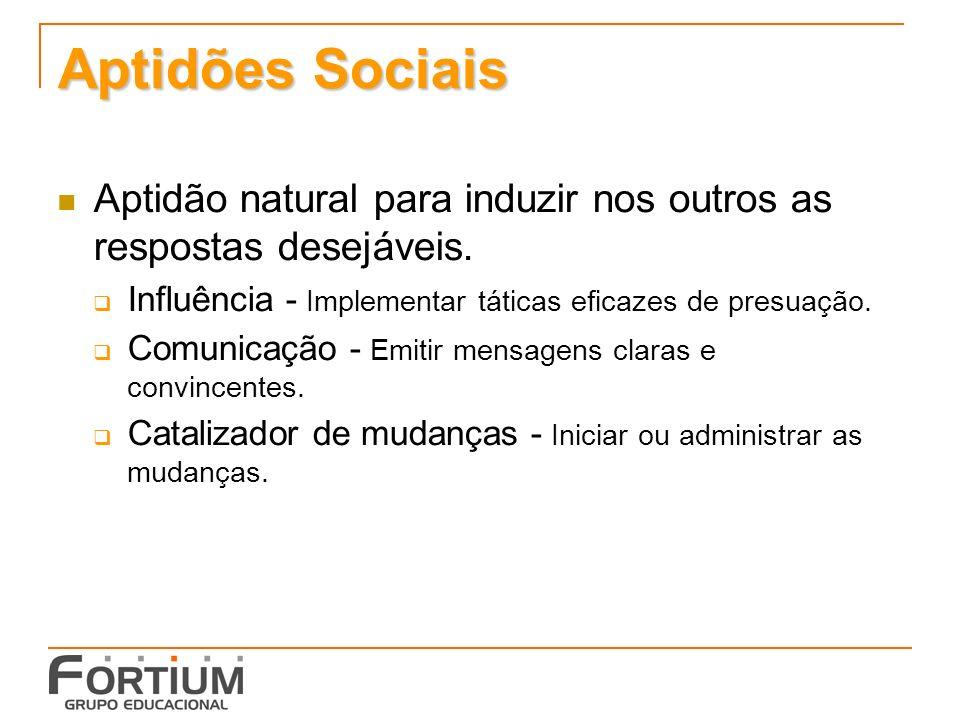 Aptidões Sociais Aptidão natural para induzir nos outros as respostas desejáveis. Influência - Implementar táticas eficazes de presuação.