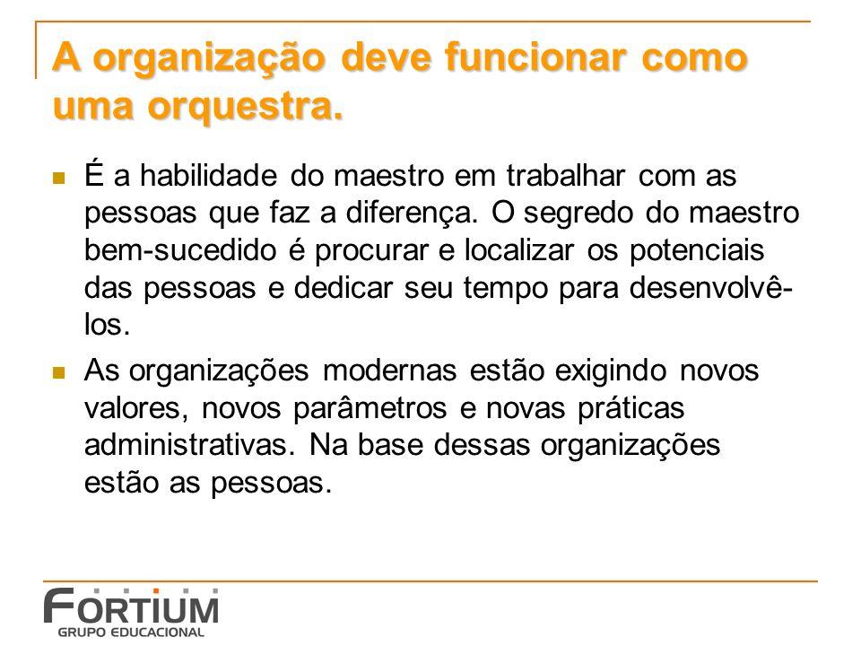 A organização deve funcionar como uma orquestra.