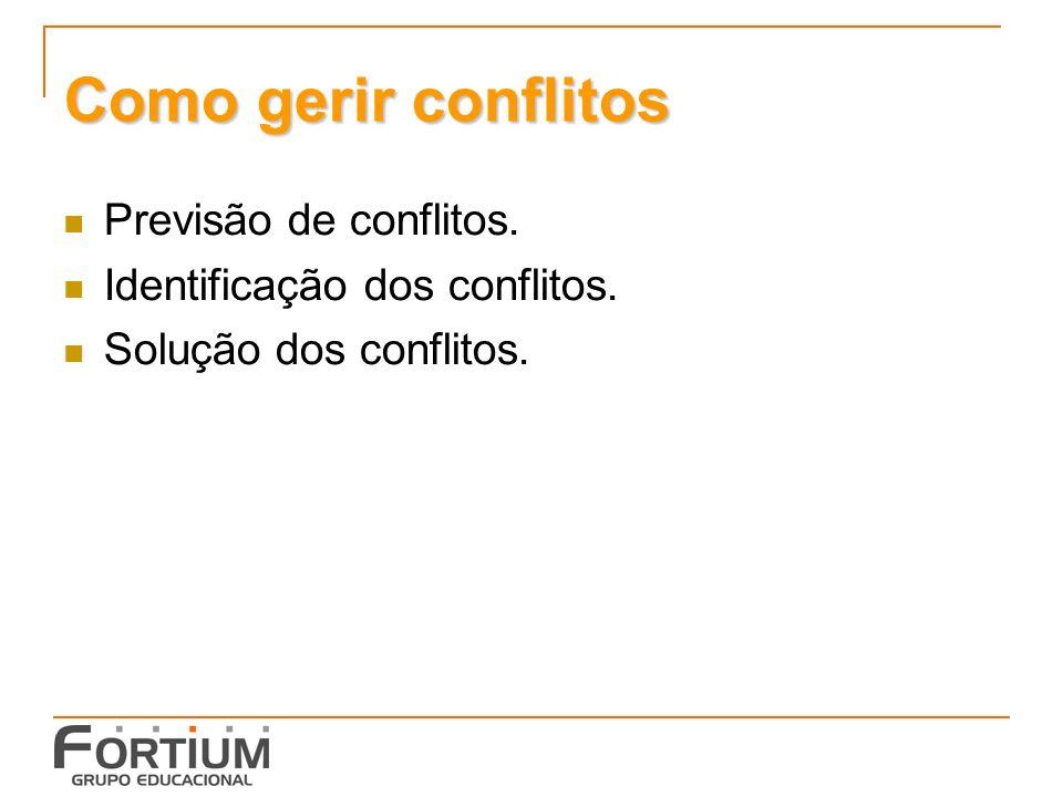 Como gerir conflitos Previsão de conflitos.