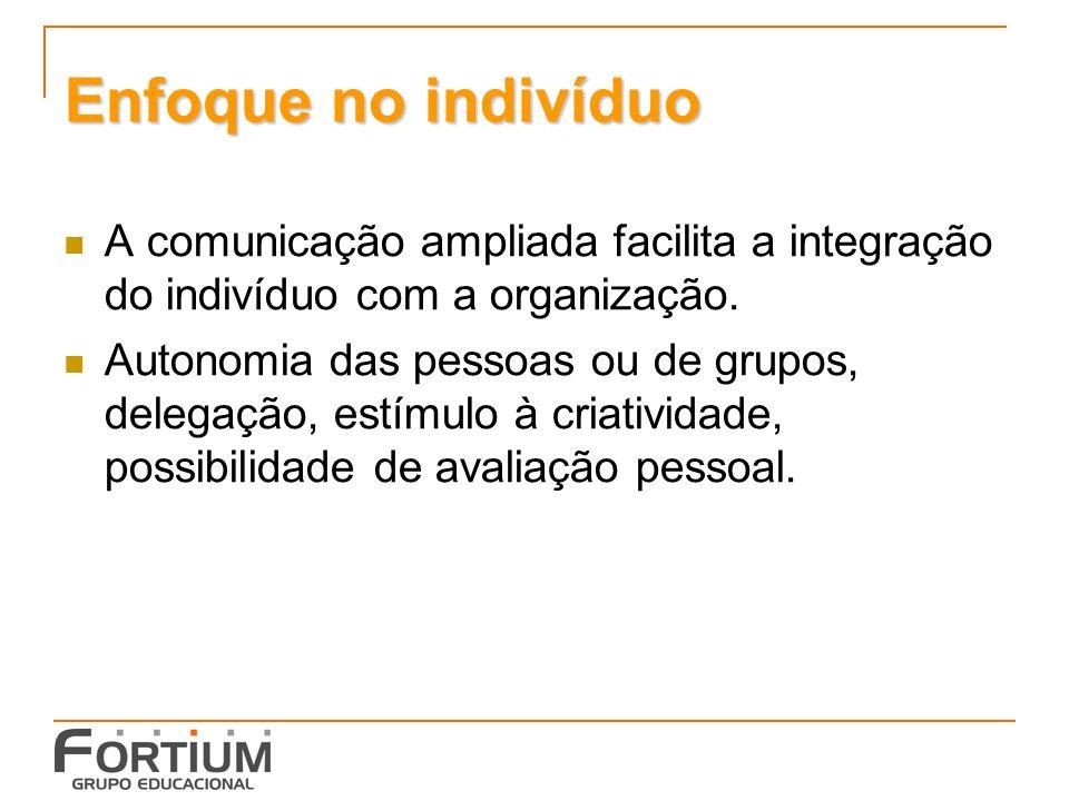 Enfoque no indivíduo A comunicação ampliada facilita a integração do indivíduo com a organização.