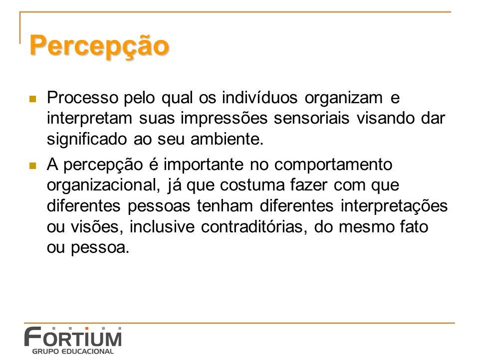 Percepção Processo pelo qual os indivíduos organizam e interpretam suas impressões sensoriais visando dar significado ao seu ambiente.