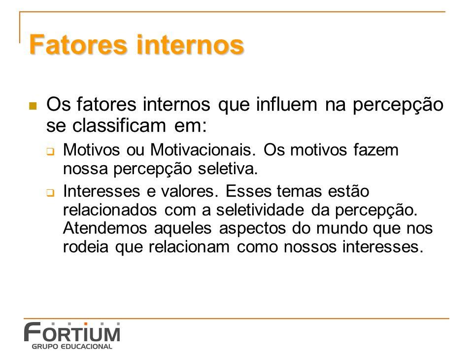 Fatores internos Os fatores internos que influem na percepção se classificam em: