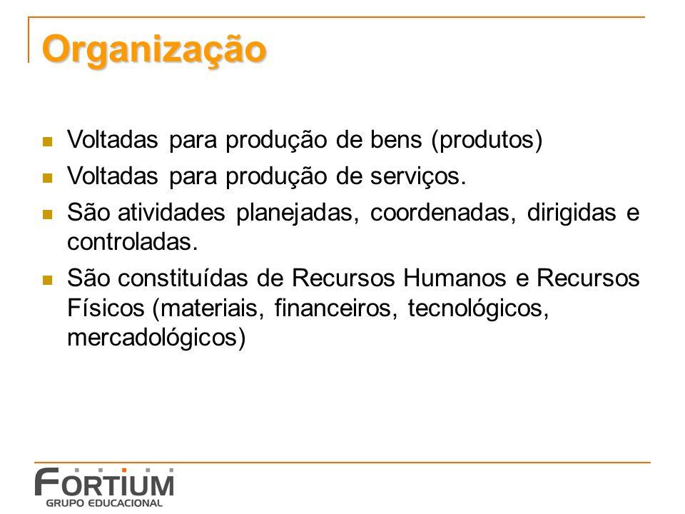 Organização Voltadas para produção de bens (produtos)