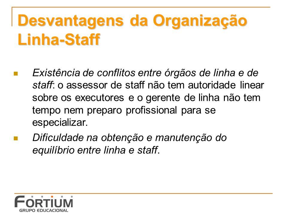Desvantagens da Organização Linha-Staff