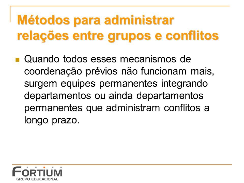 Métodos para administrar relações entre grupos e conflitos