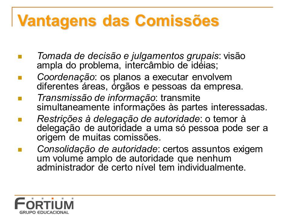 Vantagens das Comissões
