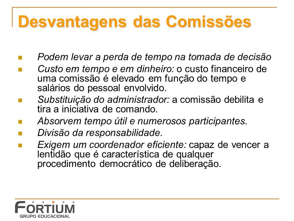 Desvantagens das Comissões