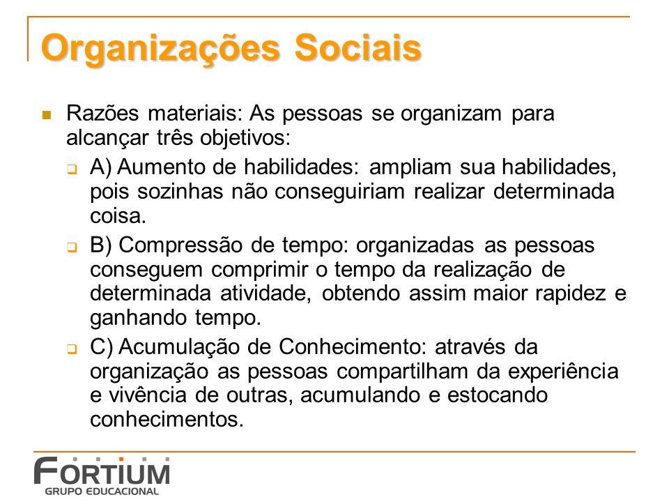 Organizações Sociais Razões materiais: As pessoas se organizam para alcançar três objetivos: