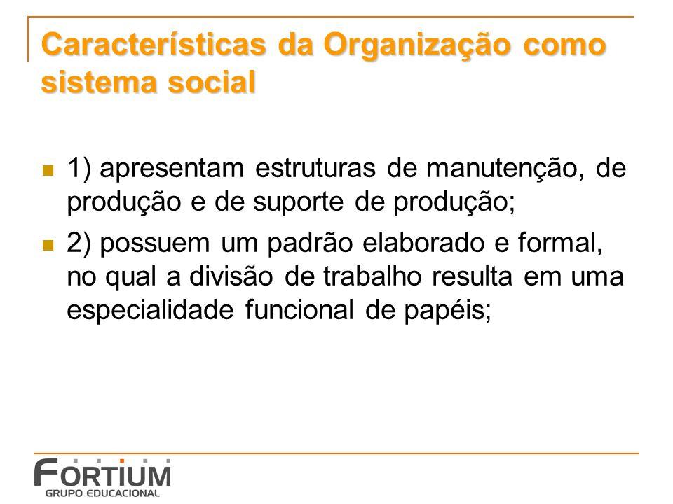 Características da Organização como sistema social