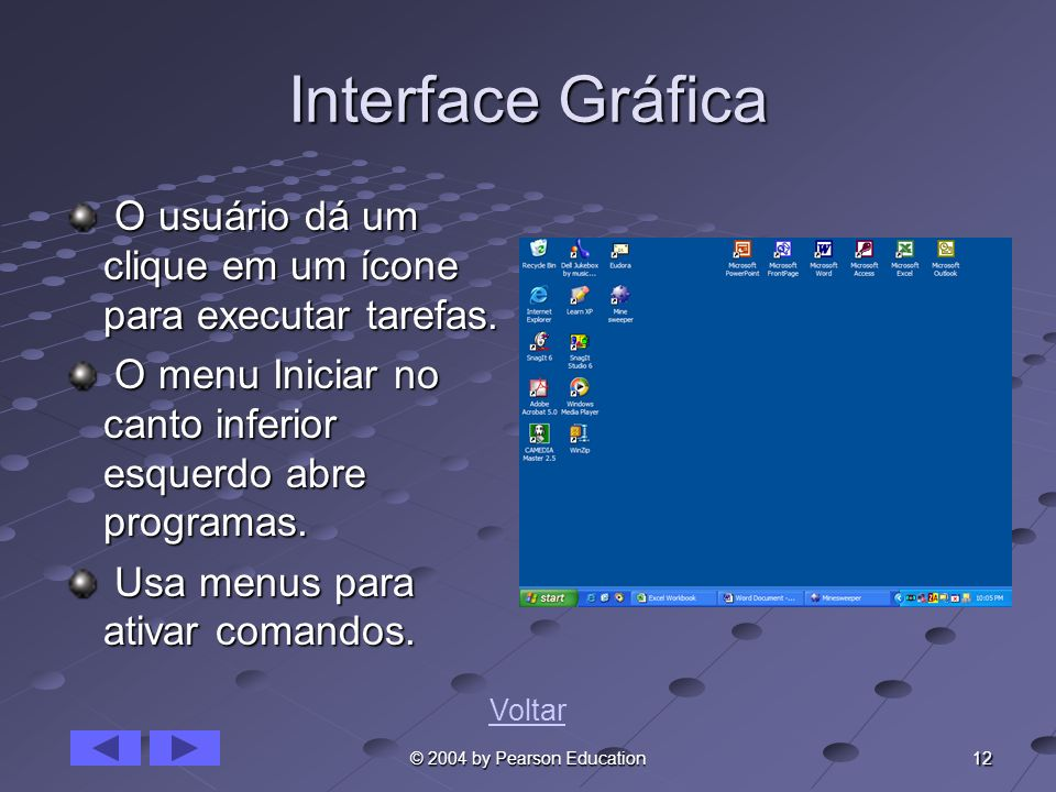 Interface Gráfica O usuário dá um clique em um ícone para executar tarefas. O menu Iniciar no canto inferior esquerdo abre programas.