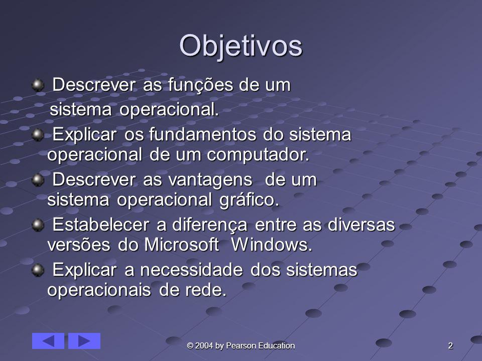 Objetivos Descrever as funções de um sistema operacional.