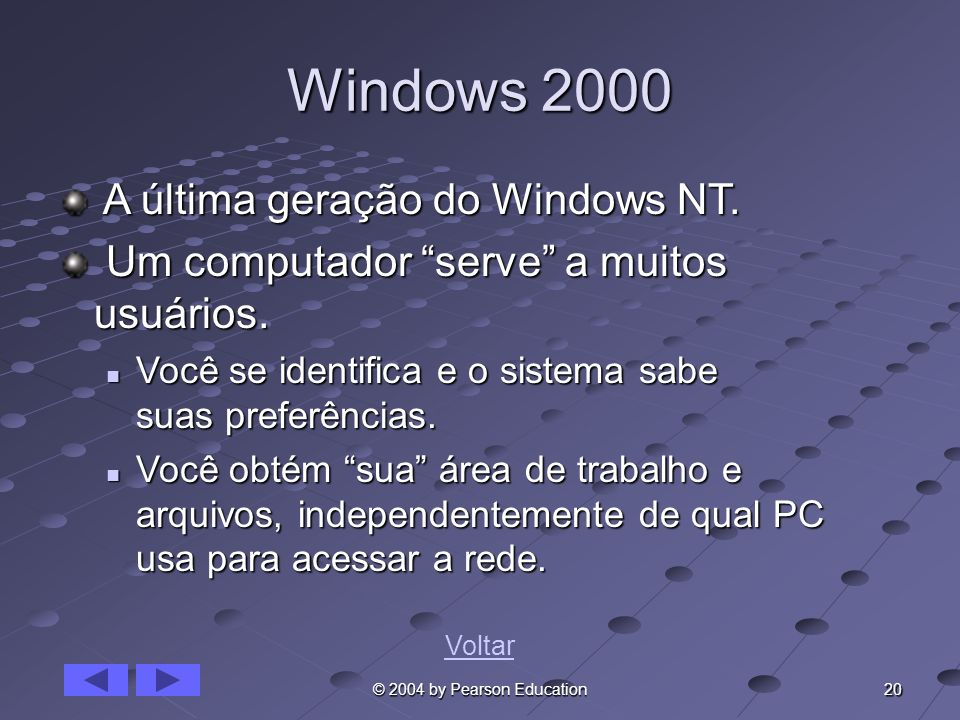 Windows 2000 A última geração do Windows NT.