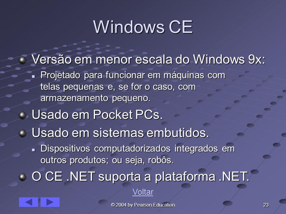 Windows CE Versão em menor escala do Windows 9x: Usado em Pocket PCs.