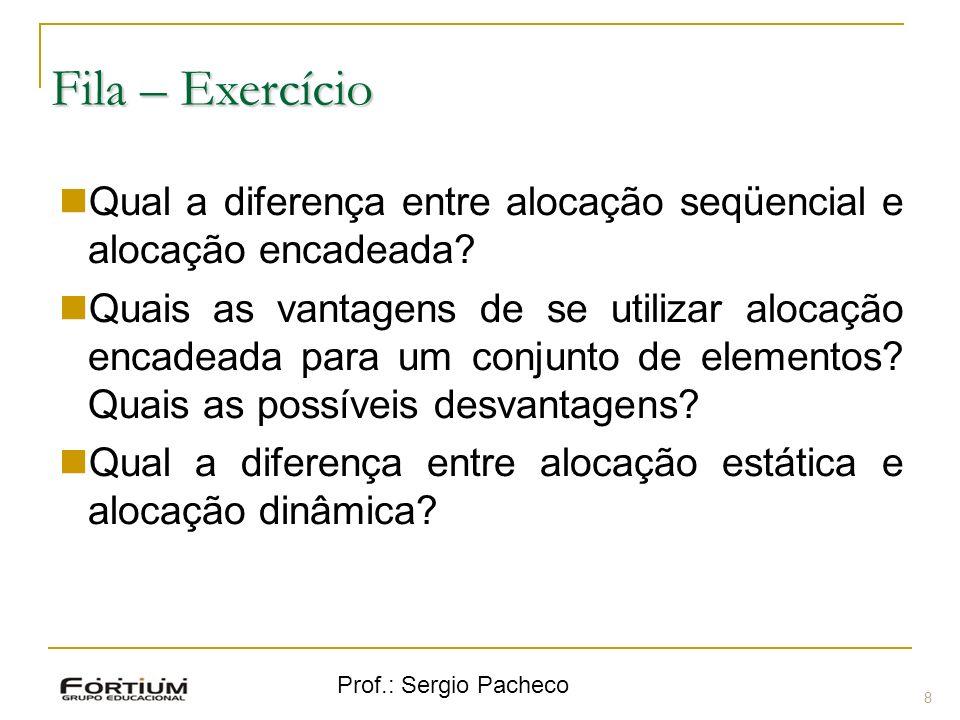 Fila – Exercício Qual a diferença entre alocação seqüencial e alocação encadeada