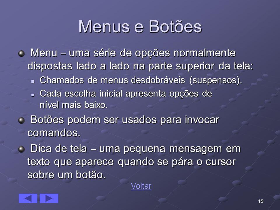 Menus e Botões Menu – uma série de opções normalmente dispostas lado a lado na parte superior da tela: