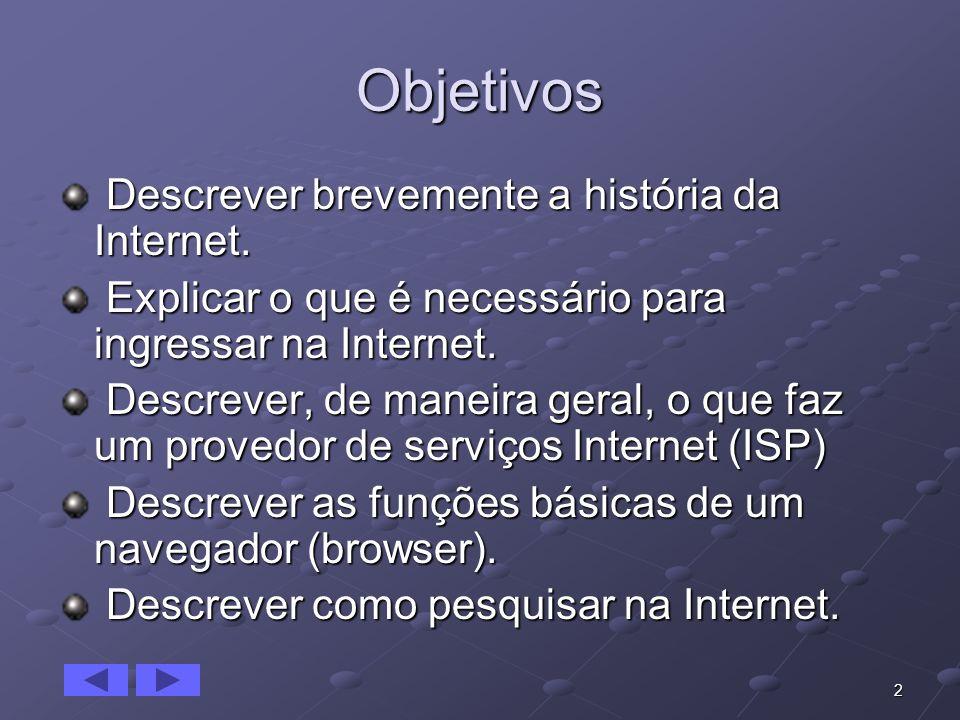 Objetivos Descrever brevemente a história da Internet.