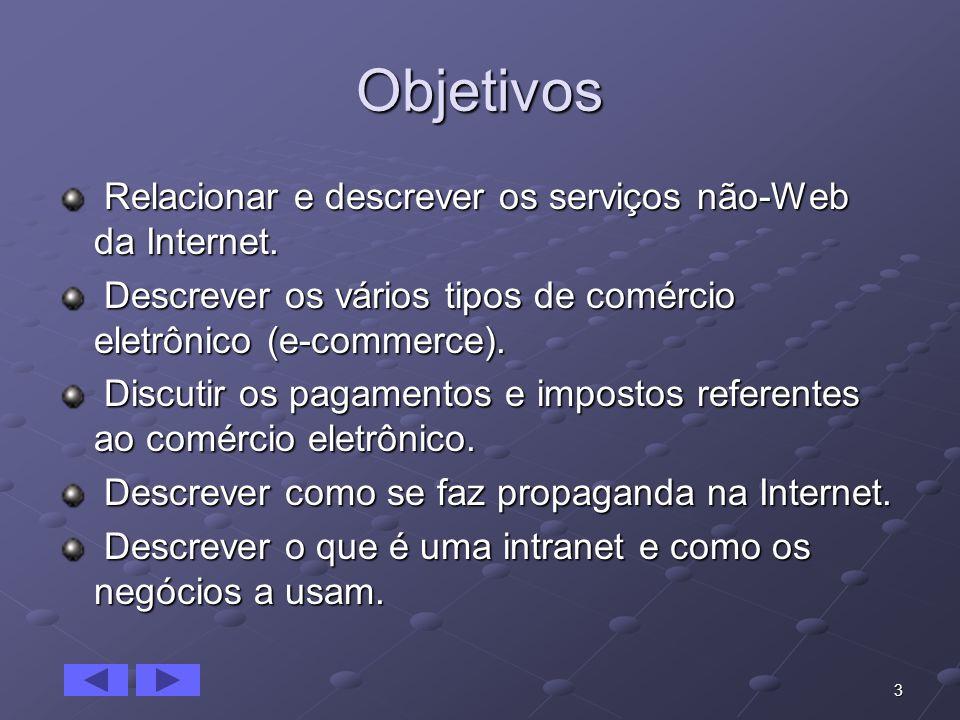 Objetivos Relacionar e descrever os serviços não-Web da Internet.