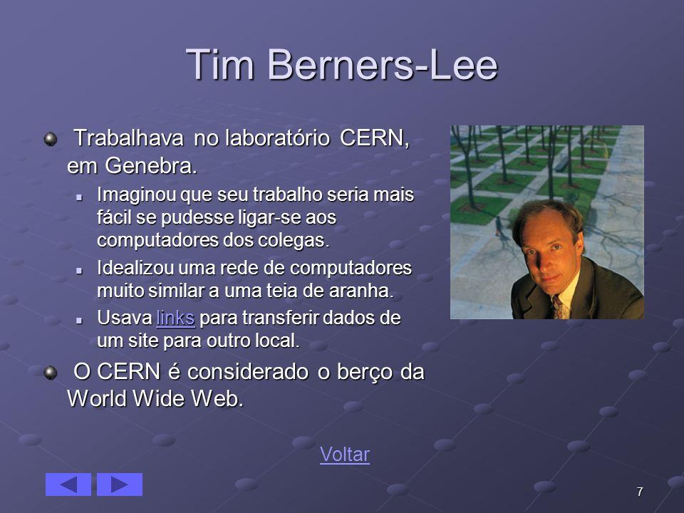 Tim Berners-Lee Trabalhava no laboratório CERN, em Genebra.