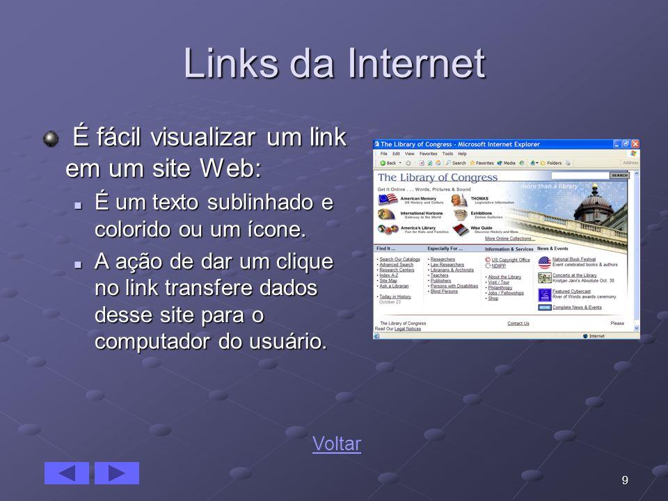 Links da Internet É fácil visualizar um link em um site Web: