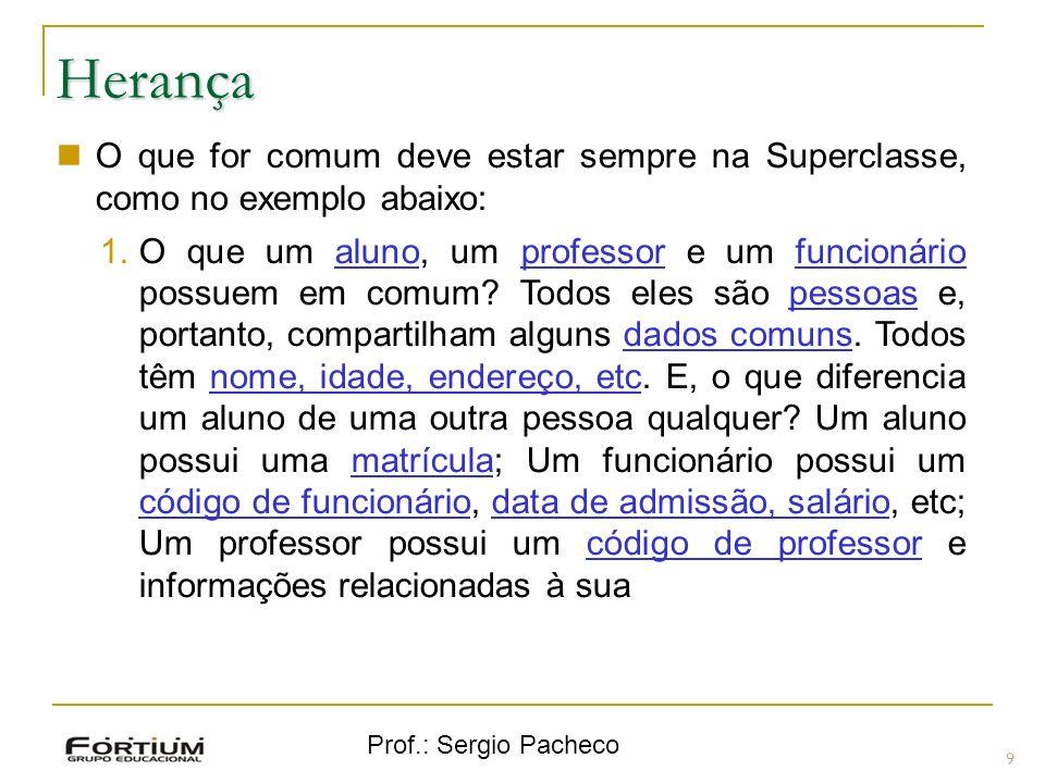 Herança O que for comum deve estar sempre na Superclasse, como no exemplo abaixo: