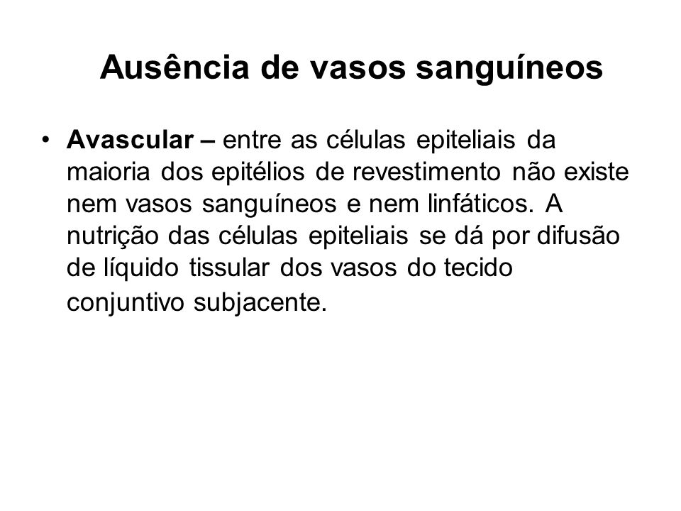 Ausência de vasos sanguíneos