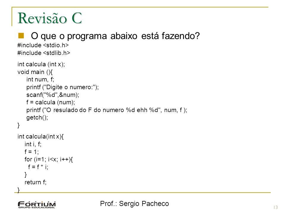 Revisão C O que o programa abaixo está fazendo Prof.: Sergio Pacheco