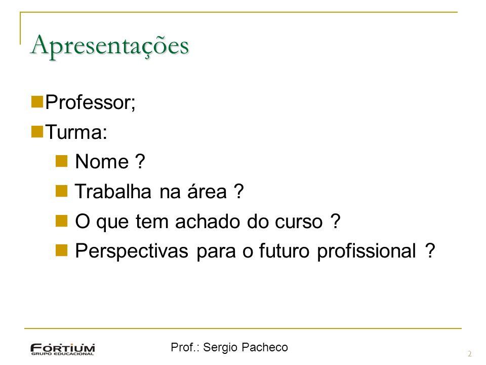 Apresentações Professor; Turma: Nome Trabalha na área
