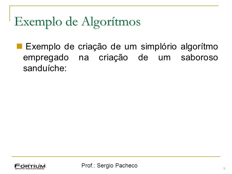 Exemplo de Algorítmos Exemplo de criação de um simplório algorítmo empregado na criação de um saboroso sanduíche: