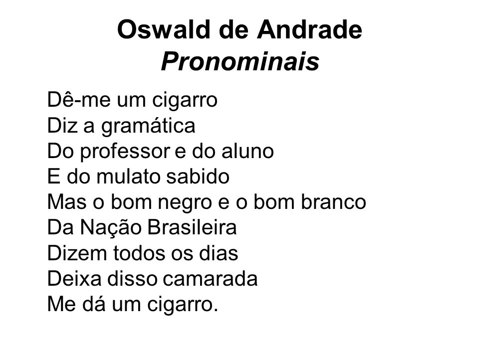 Oswald de Andrade Pronominais