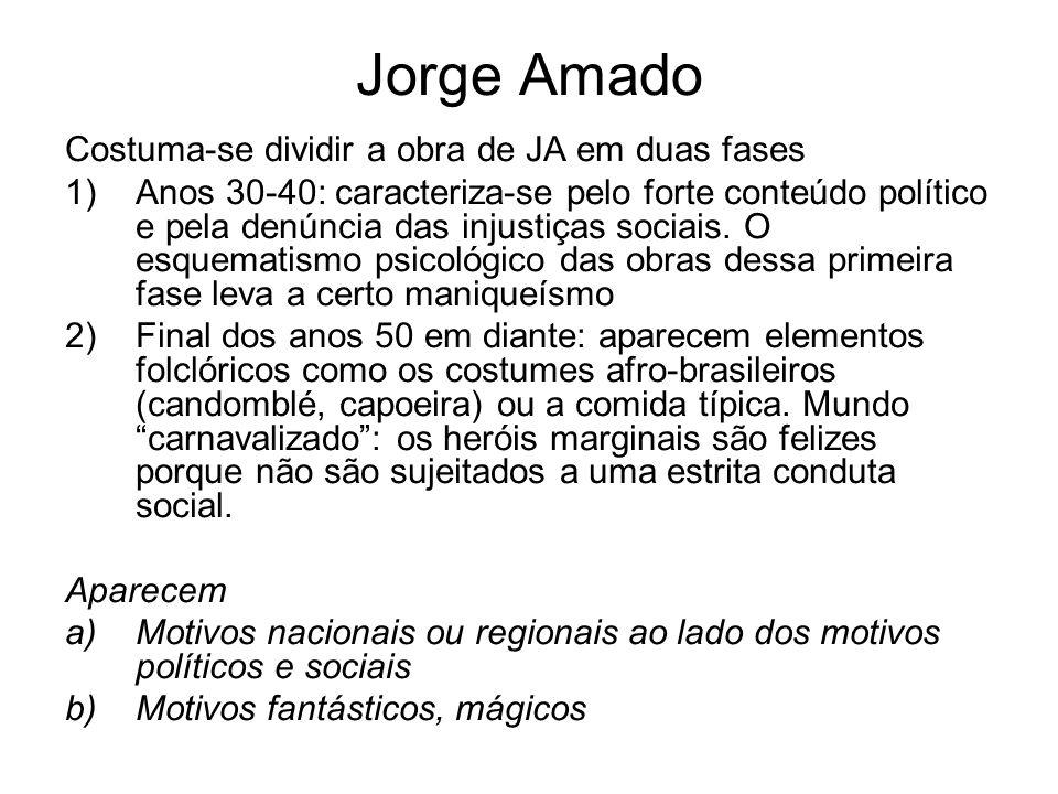 Jorge Amado Costuma-se dividir a obra de JA em duas fases