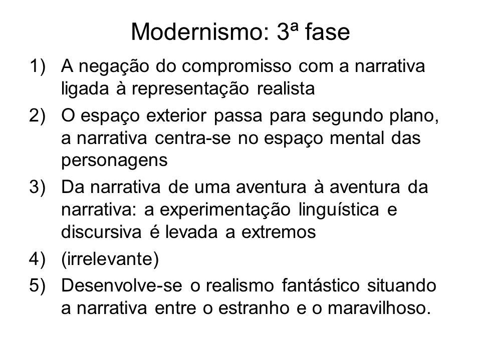 Modernismo: 3ª fase A negação do compromisso com a narrativa ligada à representação realista.