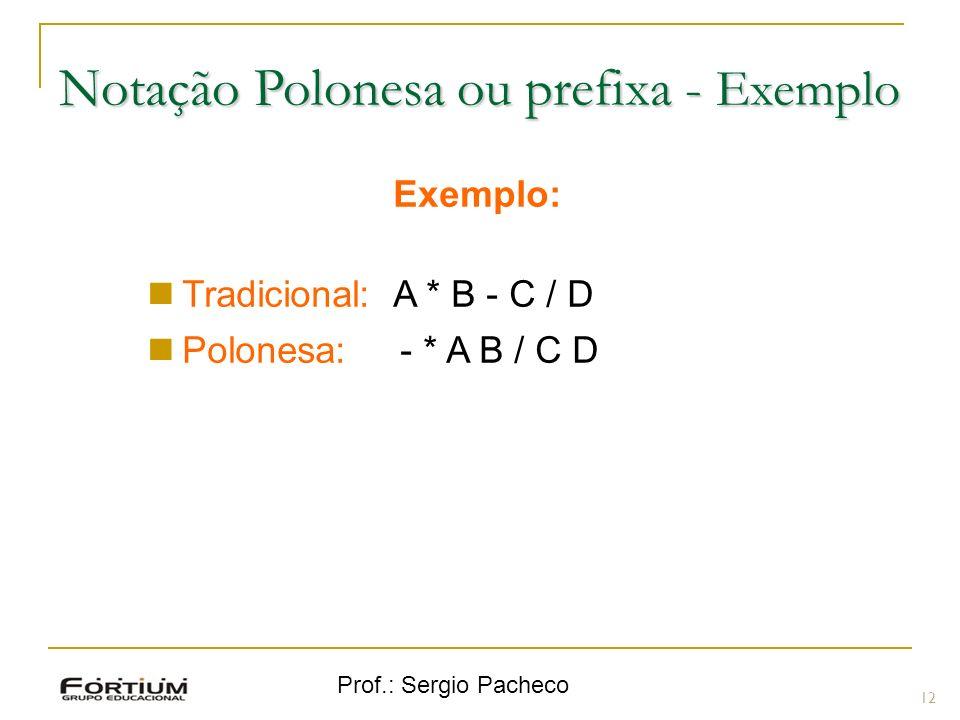 Notação Polonesa ou prefixa - Exemplo