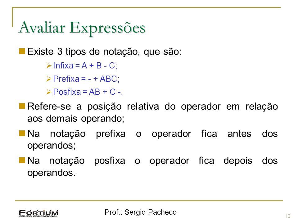 Avaliar Expressões Existe 3 tipos de notação, que são: