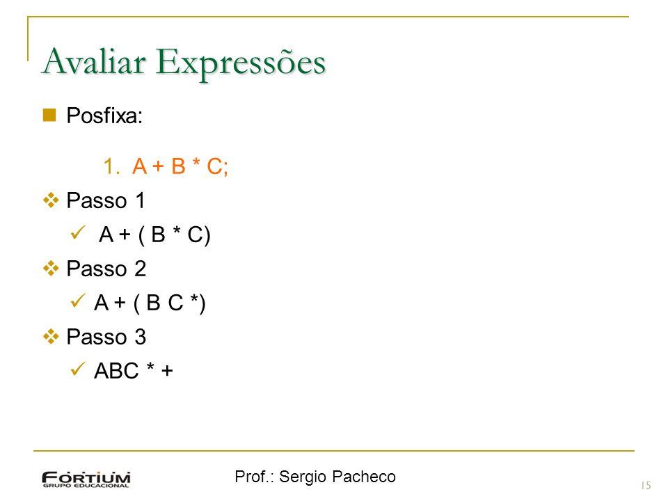 Avaliar Expressões Posfixa: A + B * C; Passo 1 A + ( B * C) Passo 2