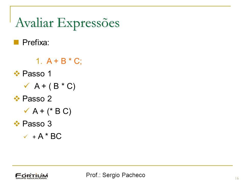 Avaliar Expressões Prefixa: A + B * C; Passo 1 A + ( B * C) Passo 2