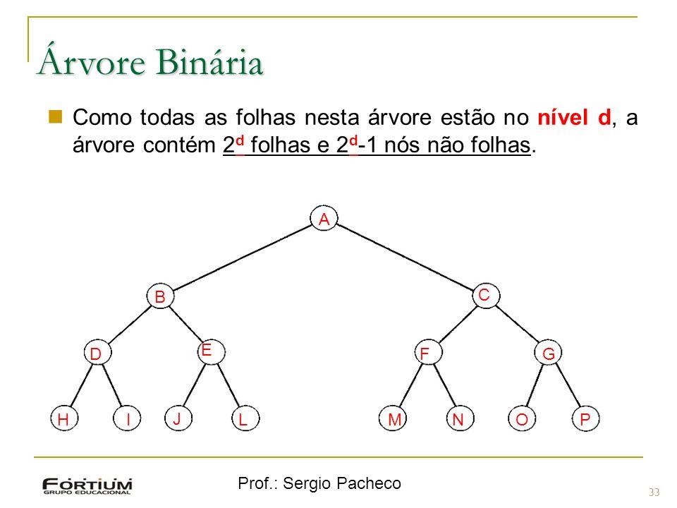 Árvore Binária Como todas as folhas nesta árvore estão no nível d, a árvore contém 2d folhas e 2d-1 nós não folhas.