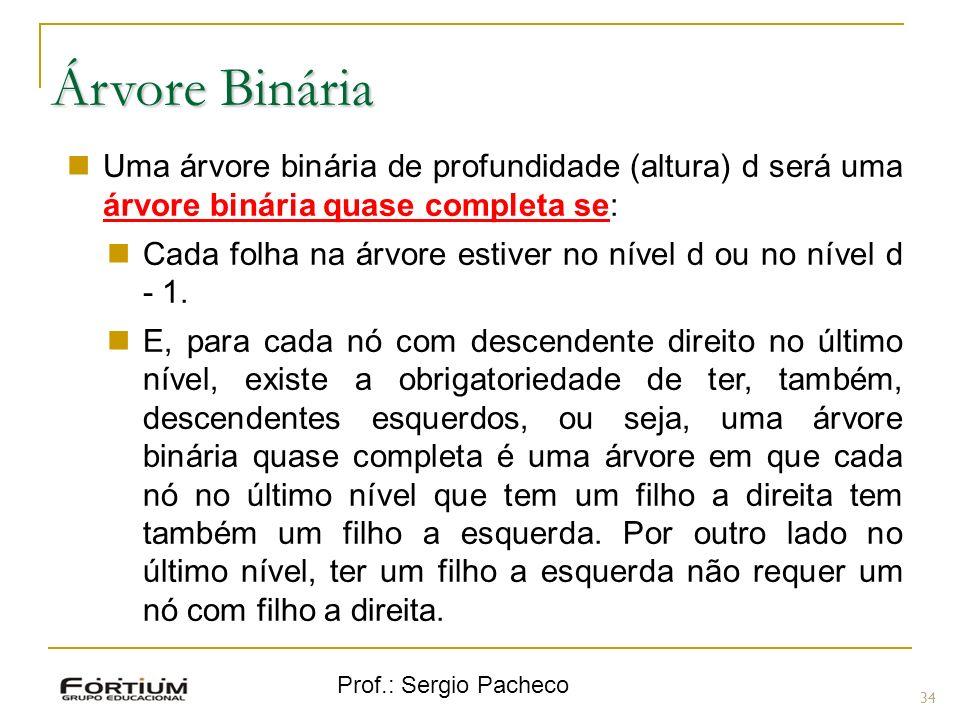 Árvore Binária Uma árvore binária de profundidade (altura) d será uma árvore binária quase completa se: