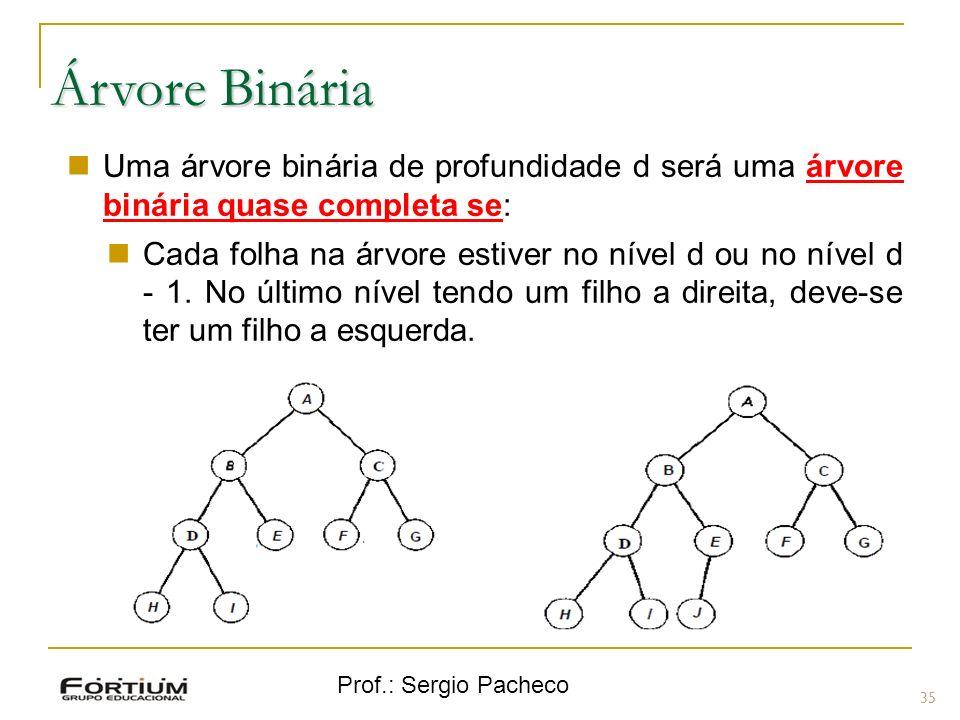Árvore Binária Uma árvore binária de profundidade d será uma árvore binária quase completa se: