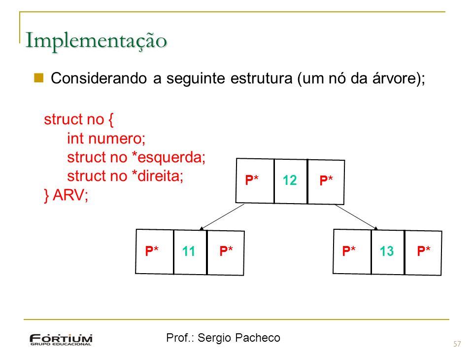 Implementação Considerando a seguinte estrutura (um nó da árvore);