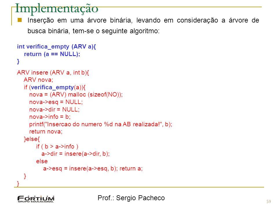 Implementação Inserção em uma árvore binária, levando em consideração a árvore de busca binária, tem-se o seguinte algoritmo: