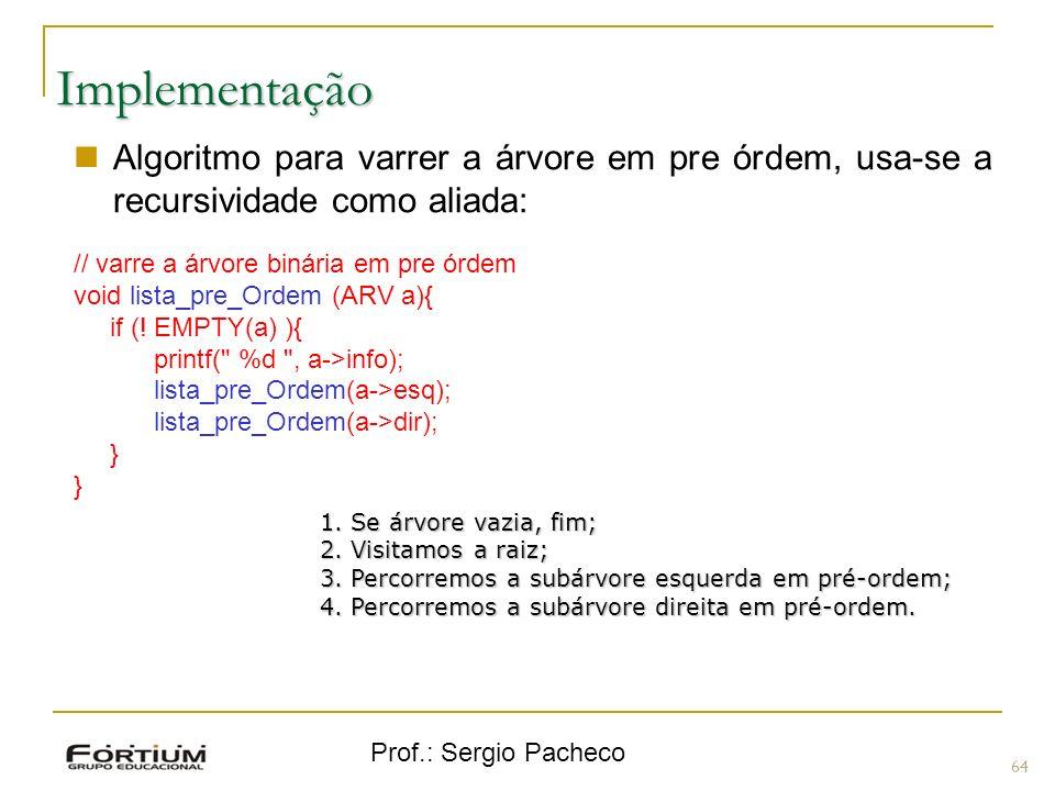 Implementação Algoritmo para varrer a árvore em pre órdem, usa-se a recursividade como aliada: // varre a árvore binária em pre órdem.
