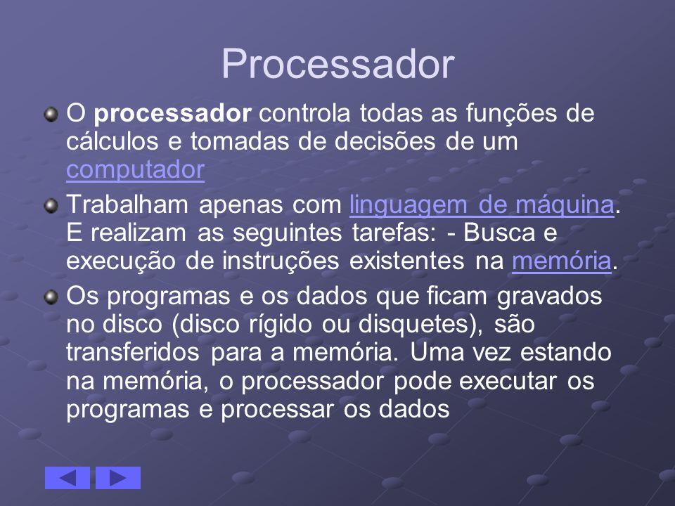 Processador O processador controla todas as funções de cálculos e tomadas de decisões de um computador.