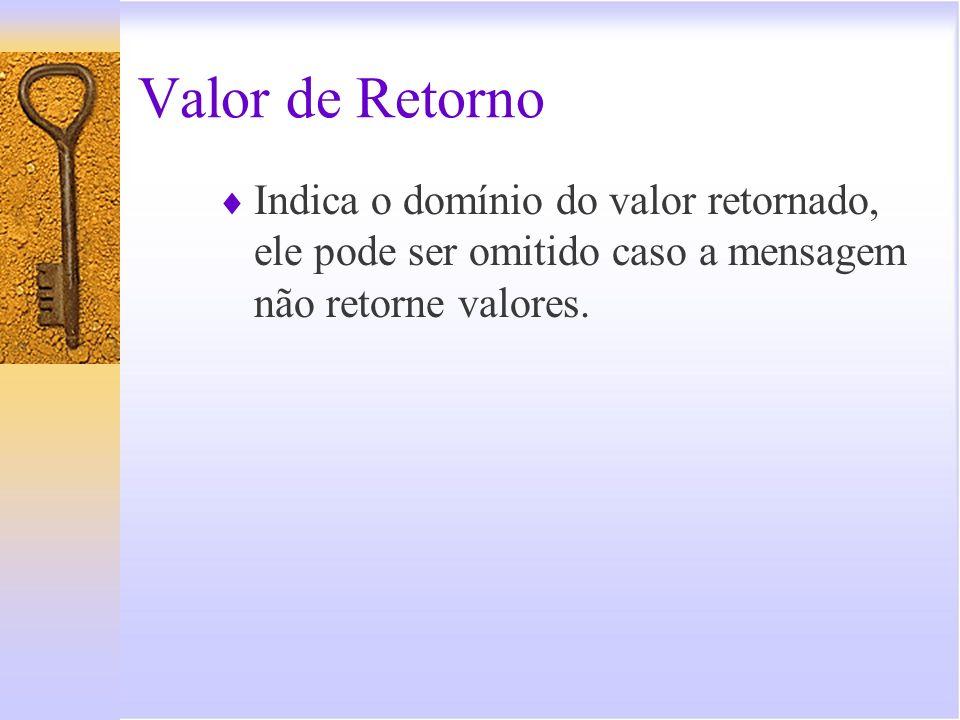 Valor de Retorno Indica o domínio do valor retornado, ele pode ser omitido caso a mensagem não retorne valores.