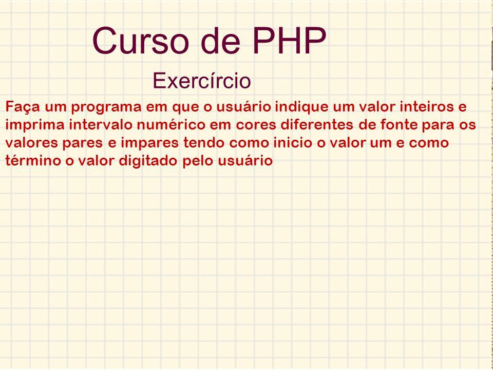 Curso de PHP Exercírcio