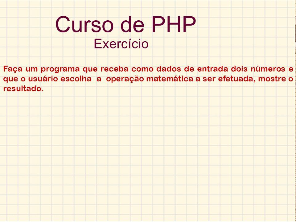 Curso de PHP Exercício.