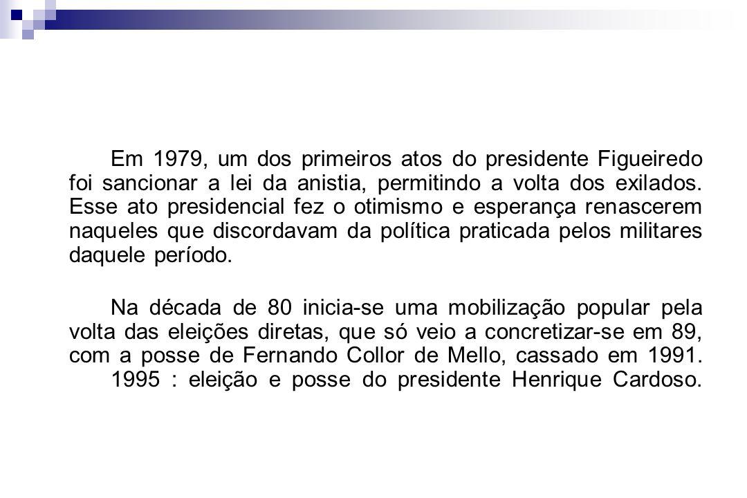 Em 1979, um dos primeiros atos do presidente Figueiredo foi sancionar a lei da anistia, permitindo a volta dos exilados. Esse ato presidencial fez o otimismo e esperança renascerem naqueles que discordavam da política praticada pelos militares daquele período.