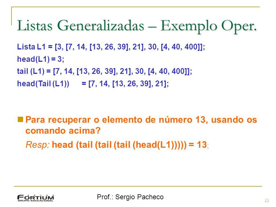 Listas Generalizadas – Exemplo Oper.