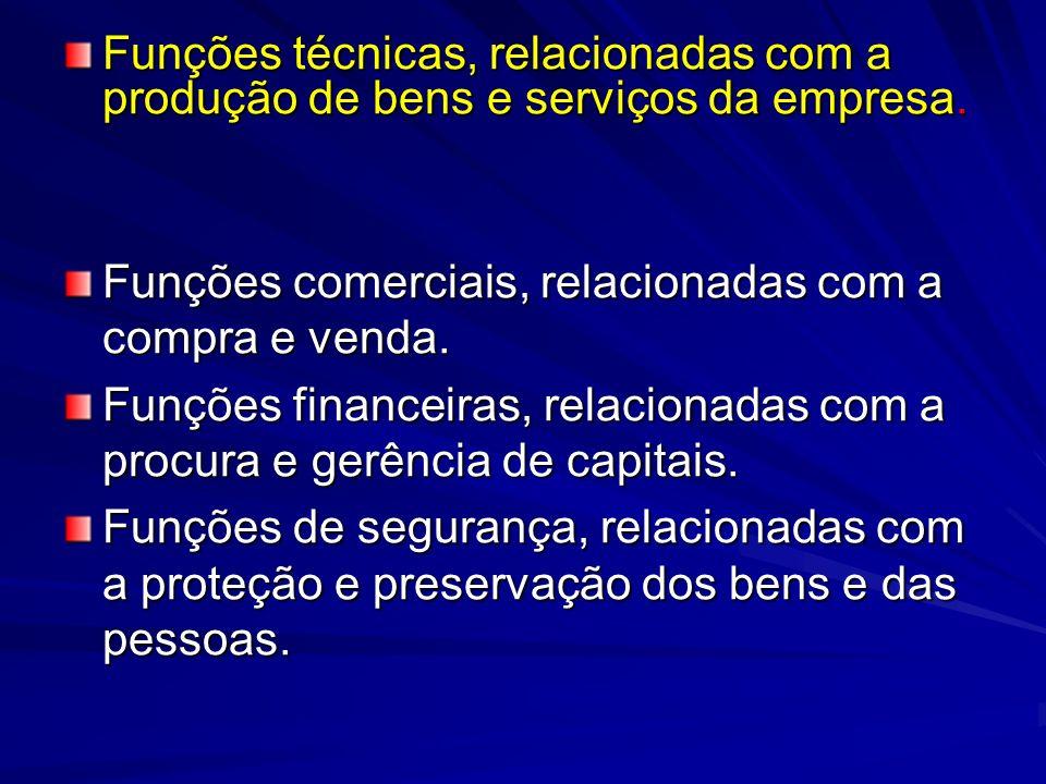 Funções técnicas, relacionadas com a produção de bens e serviços da empresa.